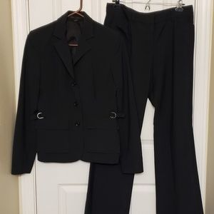 Black pinstriped with light blue Pant Suit